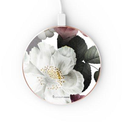 Chargeur Induction contour gold Fleurs roses La Coque Francaise