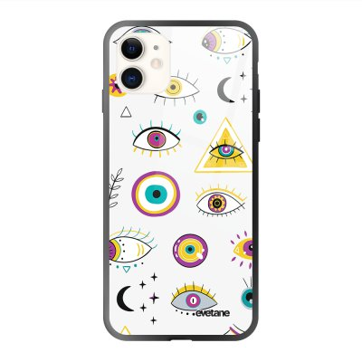 Coque iPhone 11 soft touch effet glossy Multi Yeux Design Evetane