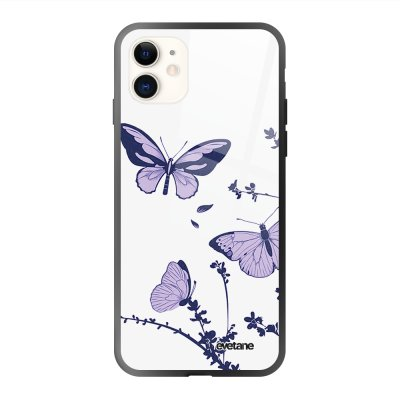 Coque iPhone 11 soft touch effet glossy Papillons Violets Design Evetane