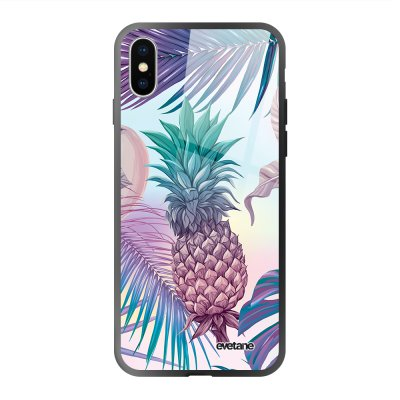 Coque iPhone Xs Max soft touch effet glossy Ananas Violet Design Evetane