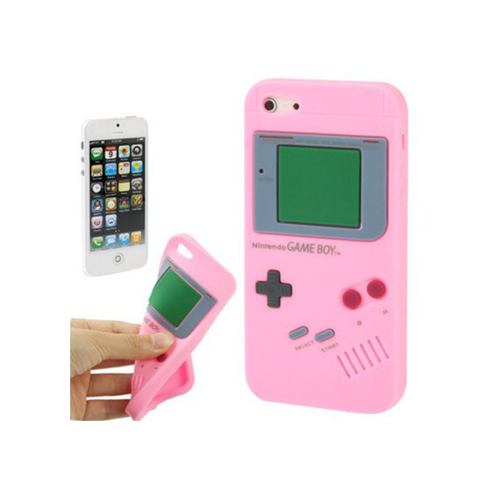 coque silicone gameboy rose clair pour iphone 5 5s