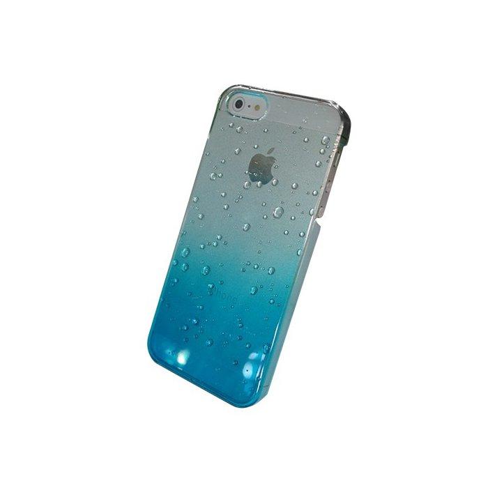 Coque arriere rigide transparente goutte eau bleu pour iPhone 5 / 5S