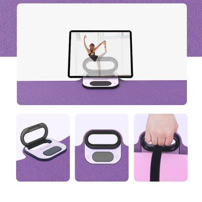 Tapis de Yoga, Gym avec support téléphone, minuterie, chronomètre - rose et violet