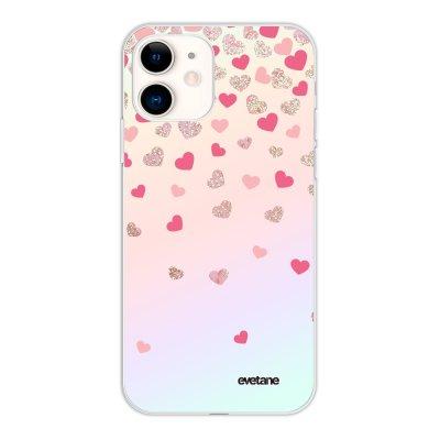 Coque iPhone 11 silicone fond holographique Coeurs en confettis Design Evetane