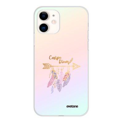 Coque iPhone 11 silicone fond holographique Carpe Diem Or Design Evetane