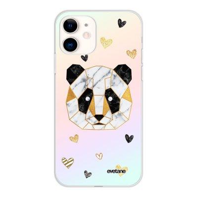 Coque iPhone 11 silicone fond holographique Panda Géométrique Design Evetane