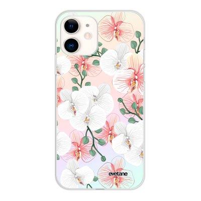 Coque iPhone 11 silicone fond holographique Orchidées Design Evetane