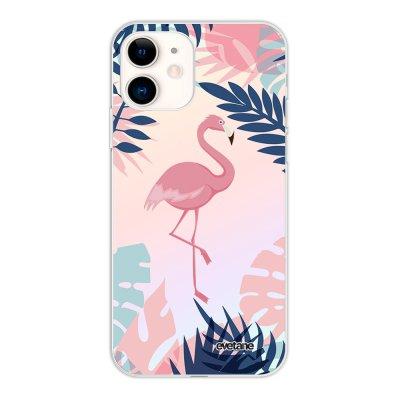Coque iPhone 11 silicone fond holographique Flamant Tropical Design Evetane