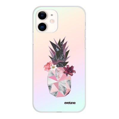 Coque iPhone 11 silicone fond holographique Ananas Fleuri Design Evetane