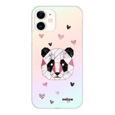 Coque iPhone 11 silicone fond holographique Panda Géométrique Rose Design Evetane