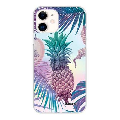 Coque iPhone 11 silicone fond holographique Ananas Violet Design Evetane