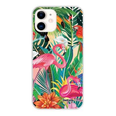 Coque iPhone 11 silicone fond holographique Animaux Tropicaux Design Evetane