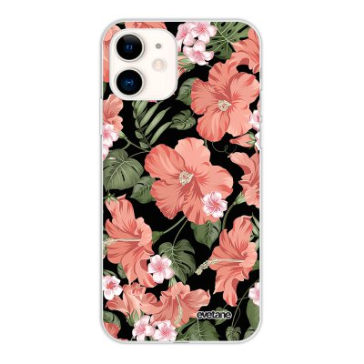 Coque iPhone 11 silicone fond holographique Hisbiscus Corail Design Evetane