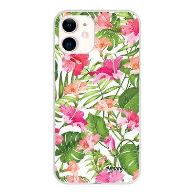 Coque iPhone 11 silicone fond holographique Fleurs Tropicales Design Evetane