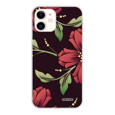 Coque iPhone 11 silicone fond holographique Lys Bordeaux Design Evetane