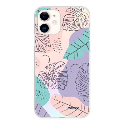 Coque iPhone 11 silicone fond holographique Feuilles Pastels Design Evetane