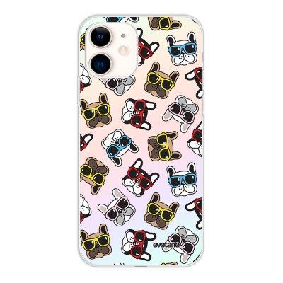 Coque iPhone 11 silicone fond holographique Chiens à Lunettes Design Evetane