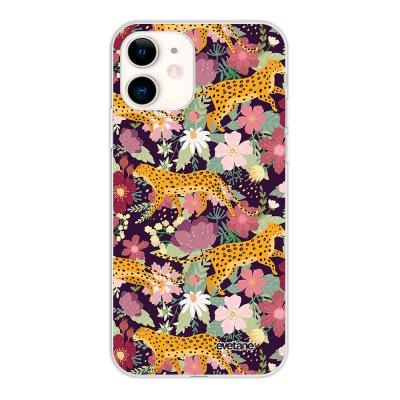 Coque iPhone 11 silicone fond holographique Léopard et Fleurs Design Evetane
