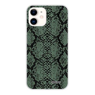 Coque iPhone 11 silicone fond holographique Python vert Design Evetane