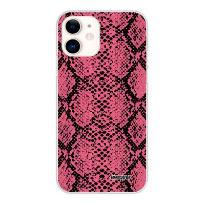 Coque iPhone 11 silicone fond holographique Python Rose Design Evetane