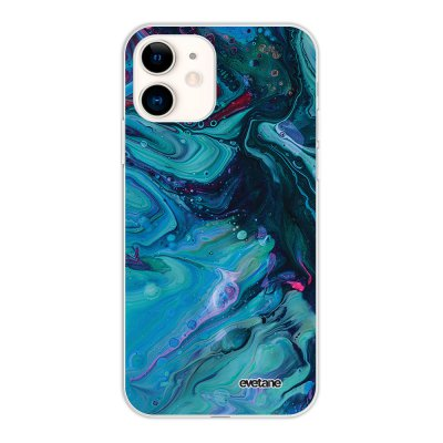 Coque iPhone 11 silicone fond holographique Mercure Bleu Design Evetane