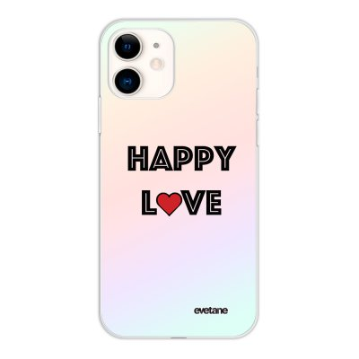 Coque iPhone 11 silicone fond holographique Happy Love Design Evetane