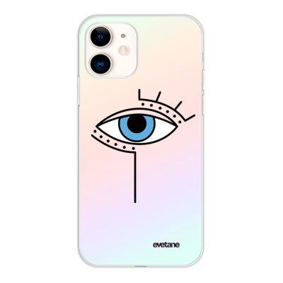 Coque iPhone 11 silicone fond holographique Oeil Graphique Design Evetane