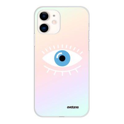 Coque iPhone 11 silicone fond holographique Oeil Bleu Design Evetane