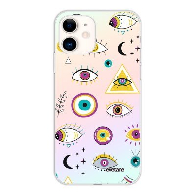 Coque iPhone 11 silicone fond holographique Multi Yeux Design Evetane