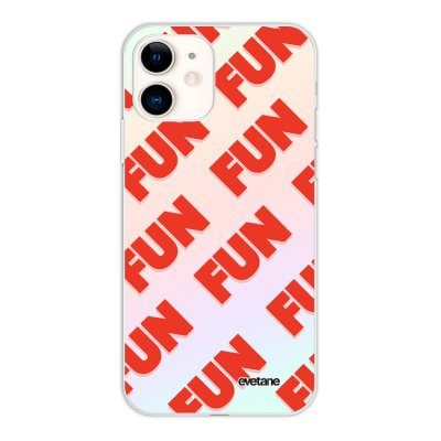 Coque iPhone 11 silicone fond holographique Fun orange Design Evetane