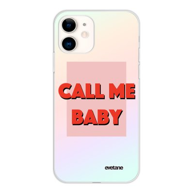 Coque iPhone 11 silicone fond holographique Call me baby Design Evetane