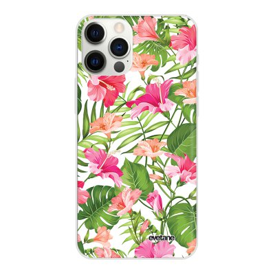 Coque iPhone 12 Pro Max souple transparente Fleurs Tropicales Motif Ecriture Tendance Evetane.