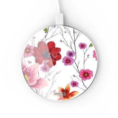 Chargeur Induction contour argent blanc Fleurs Multicolores Evetane