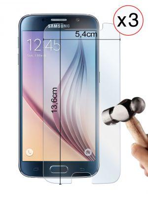Lot de 3 vitres protectrices en verre trempé pour Samsung Galaxy S6 Edge