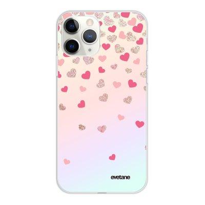 Coque iPhone 11 Pro silicone fond holographique Coeurs en confettis Design Evetane