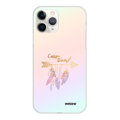 Coque iPhone 11 Pro silicone fond holographique Carpe Diem Or Design Evetane