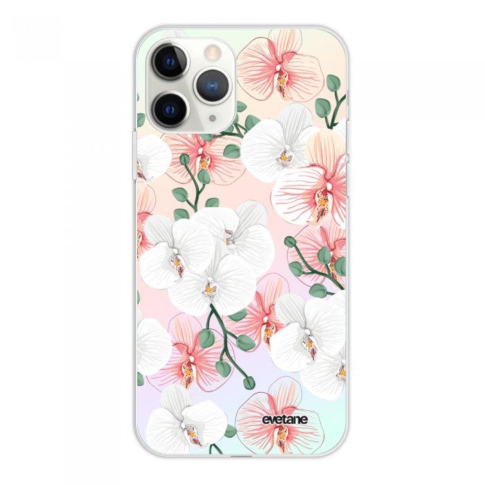 Coque iPhone 11 Pro silicone fond holographique Orchidées Design Evetane