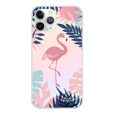 Coque iPhone 11 Pro silicone fond holographique Flamant Tropical Design Evetane
