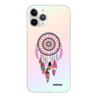 Coque iPhone 11 Pro silicone fond holographique Attrape Rêve Rose Fushia Design Evetane
