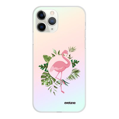 Coque iPhone 11 Pro silicone fond holographique Flamant Rose Cercle Design Evetane