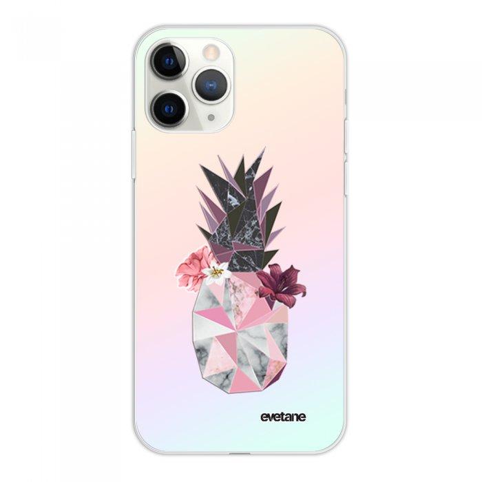 Coque iPhone 11 Pro silicone fond holographique Ananas Fleuri Design Evetane