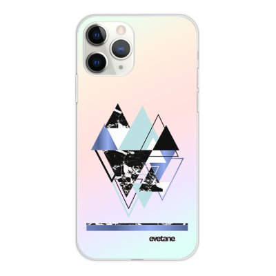 Coque iPhone 11 Pro silicone fond holographique Triangles Bleus Design Evetane