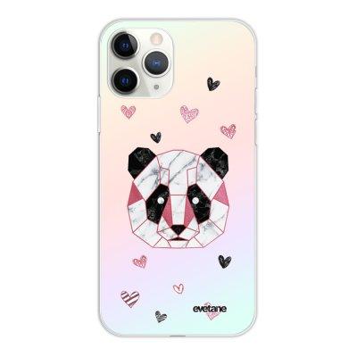 Coque iPhone 11 Pro silicone fond holographique Panda Géométrique Rose Design Evetane