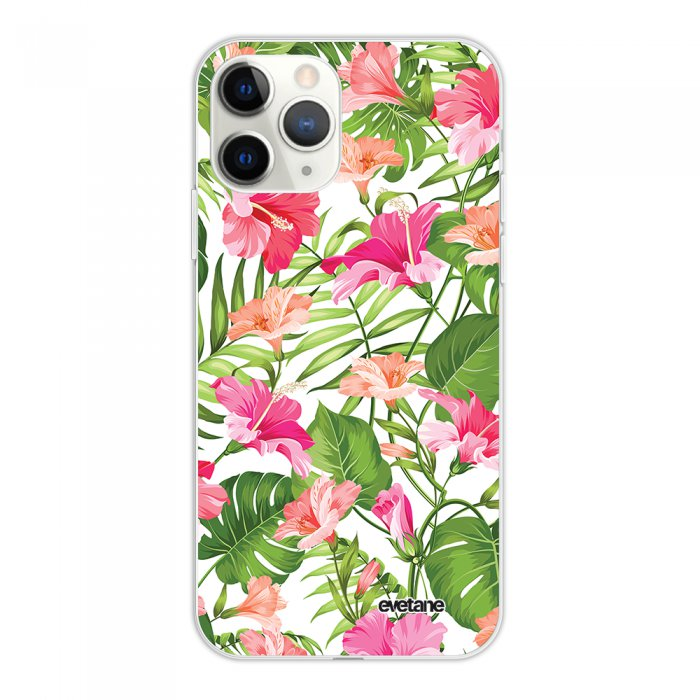 Coque iPhone 11 Pro silicone fond holographique Fleurs Tropicales Design Evetane