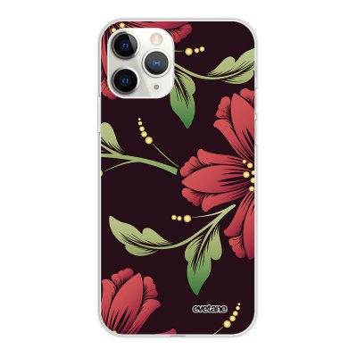 Coque iPhone 11 Pro silicone fond holographique Lys Bordeaux Design Evetane