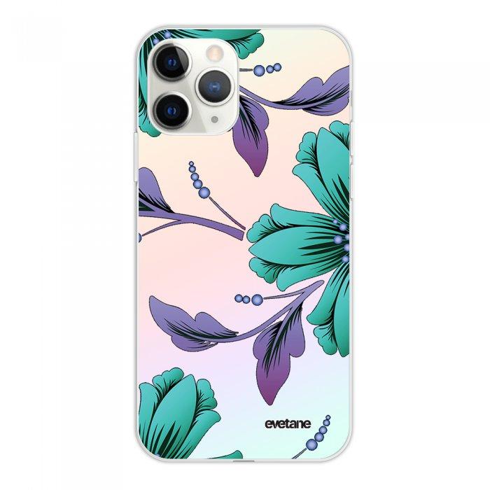 Coque iPhone 11 Pro silicone fond holographique Lys Bleues et violettes Design Evetane
