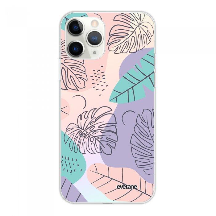 Coque iPhone 11 Pro silicone fond holographique Feuilles Pastels Design Evetane