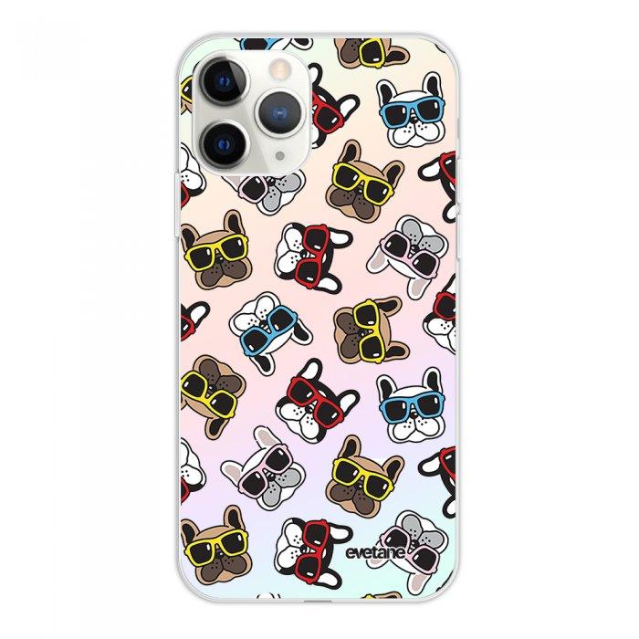 Coque iPhone 11 Pro silicone fond holographique Chiens à Lunettes Design Evetane