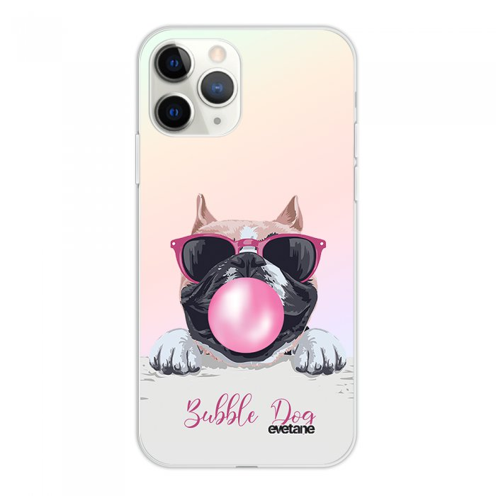 Coque iPhone 11 Pro silicone fond holographique Bubble Dog Design Evetane