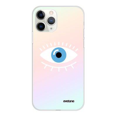 Coque iPhone 11 Pro silicone fond holographique Oeil Bleu Design Evetane